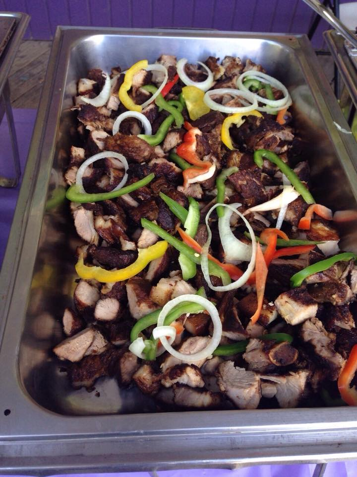 jerk pork catering platter at trellis bay market bvi