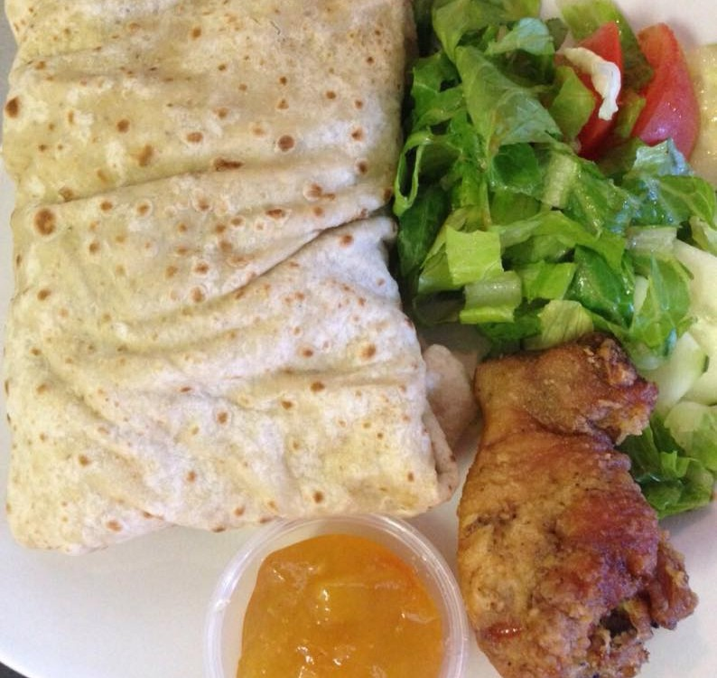 famous chicken roti served daily at trellis bay market