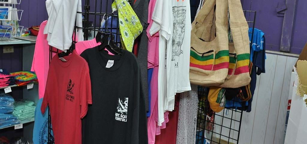 shirt selection available at trellis gift shop tortola bvi
