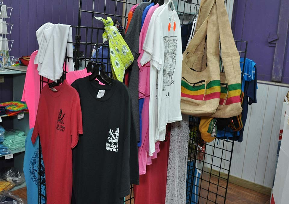 shirt selection available at trellis gift shop tortola bvi