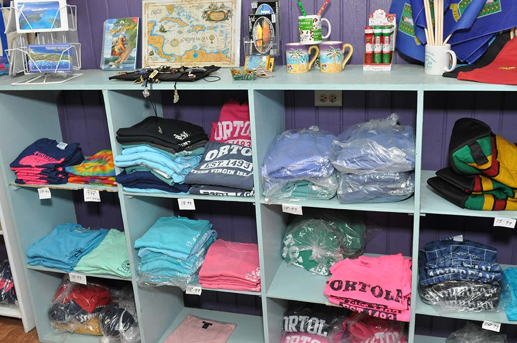 selection of shirts at trellis gift shop british virgin islands