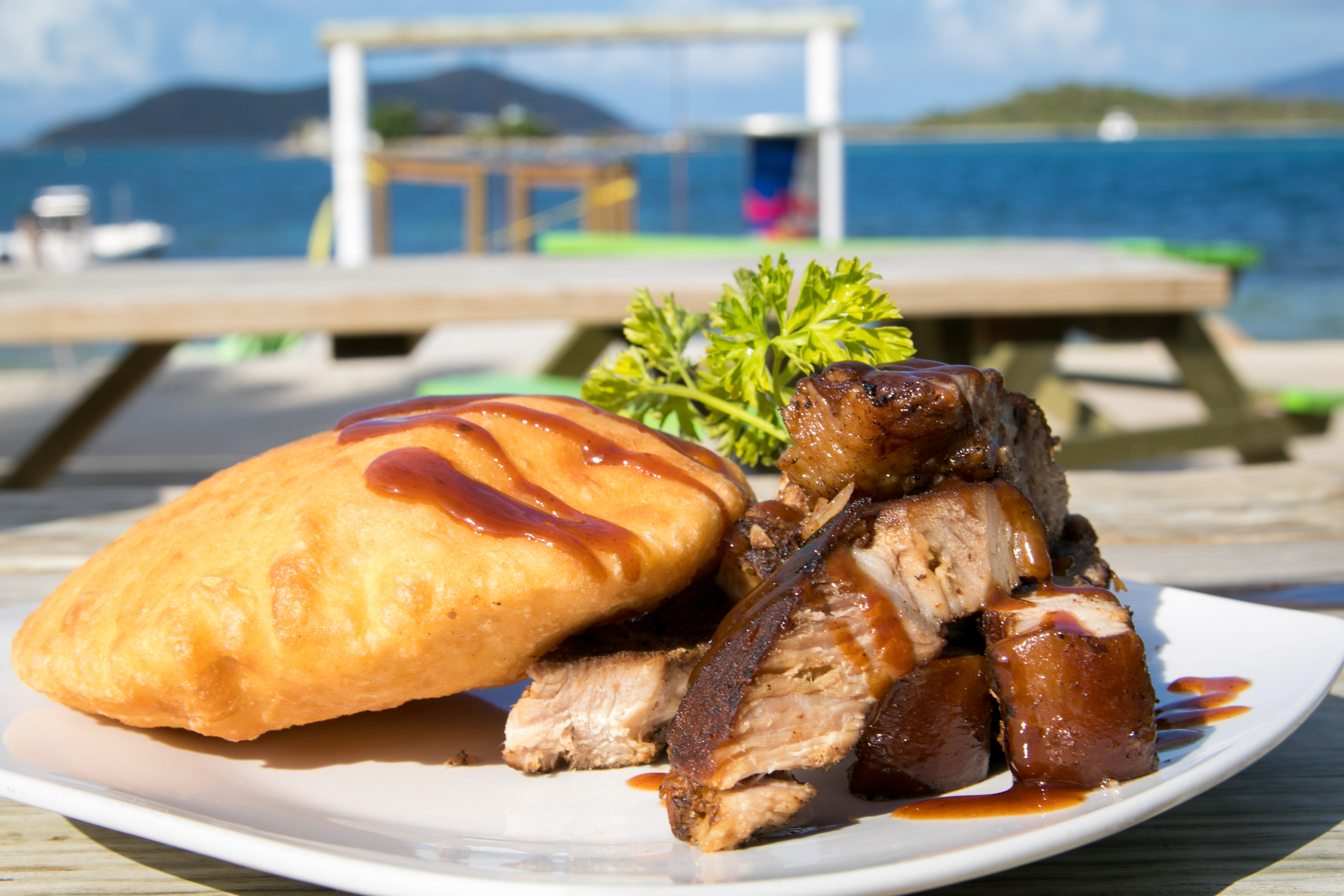 jerk pork, Johnny cake at trellis bay market