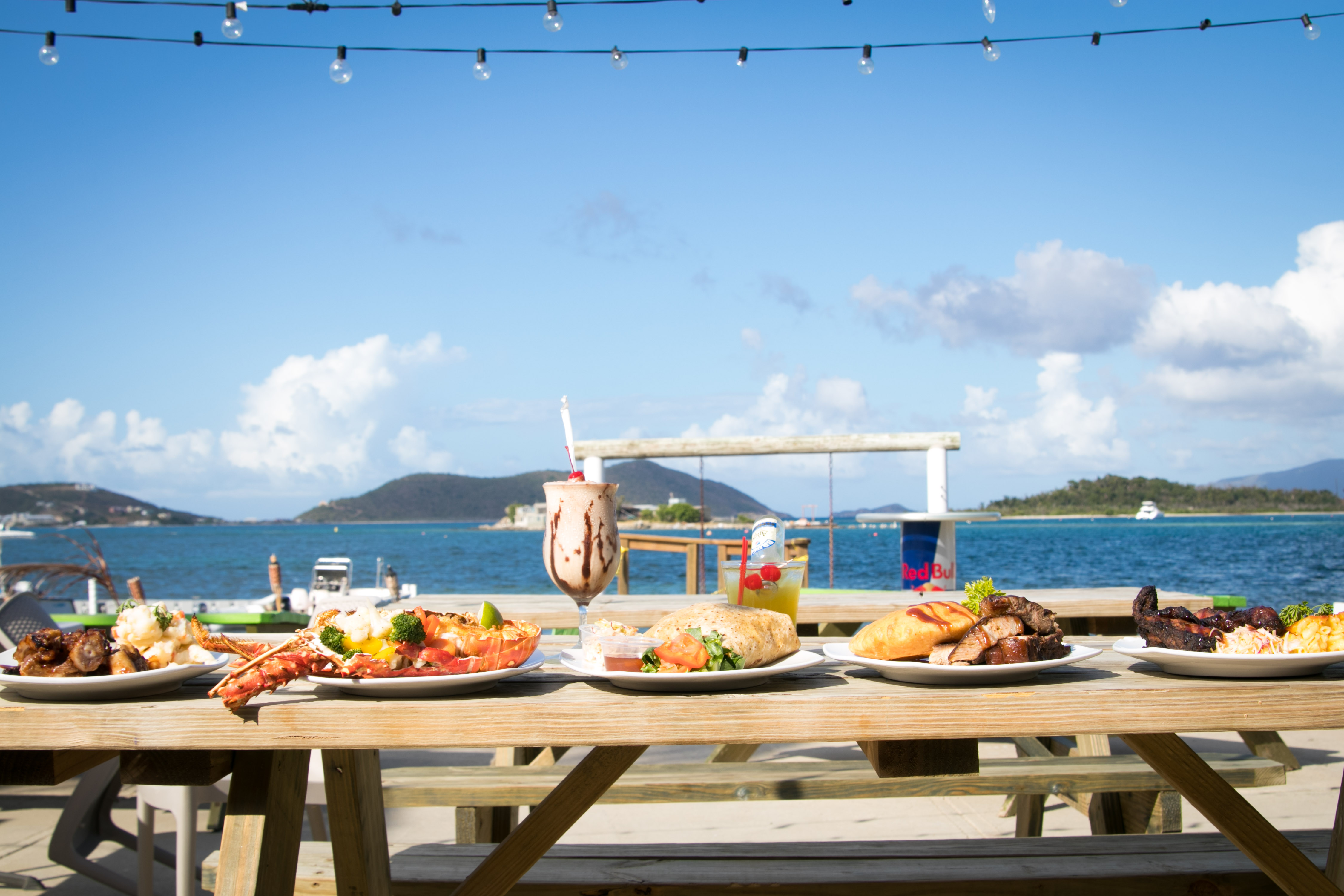 food selection at trellis bay market bar &